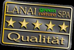 Qualität Siegel mit 5 goldenen Sternen auf anthrazit Hintergrund